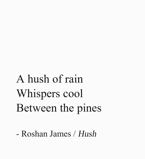 Hush - A hush of rain / Whispers cool / Between the pines